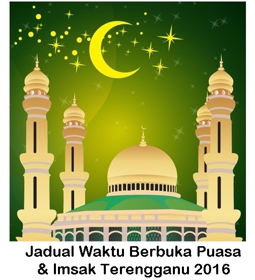 jadual waktu bersungkai (berbuka puasa) dan waktu sahur di Terengganu 2016, jadual waktu berbuka puasa Terengganu dan waktu imsak tahun 2016, 1437 hijrah zon Dungun, Kemaman, Setiu, Kuala Terengganu.