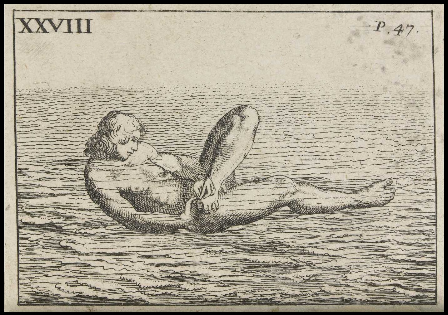 bizarre sketch of swimmer, nude on back, cutting toe nails