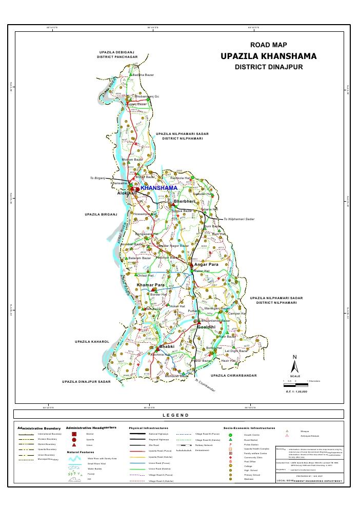 Khansama Upazila Road Map Dinajpur District Bangladesh