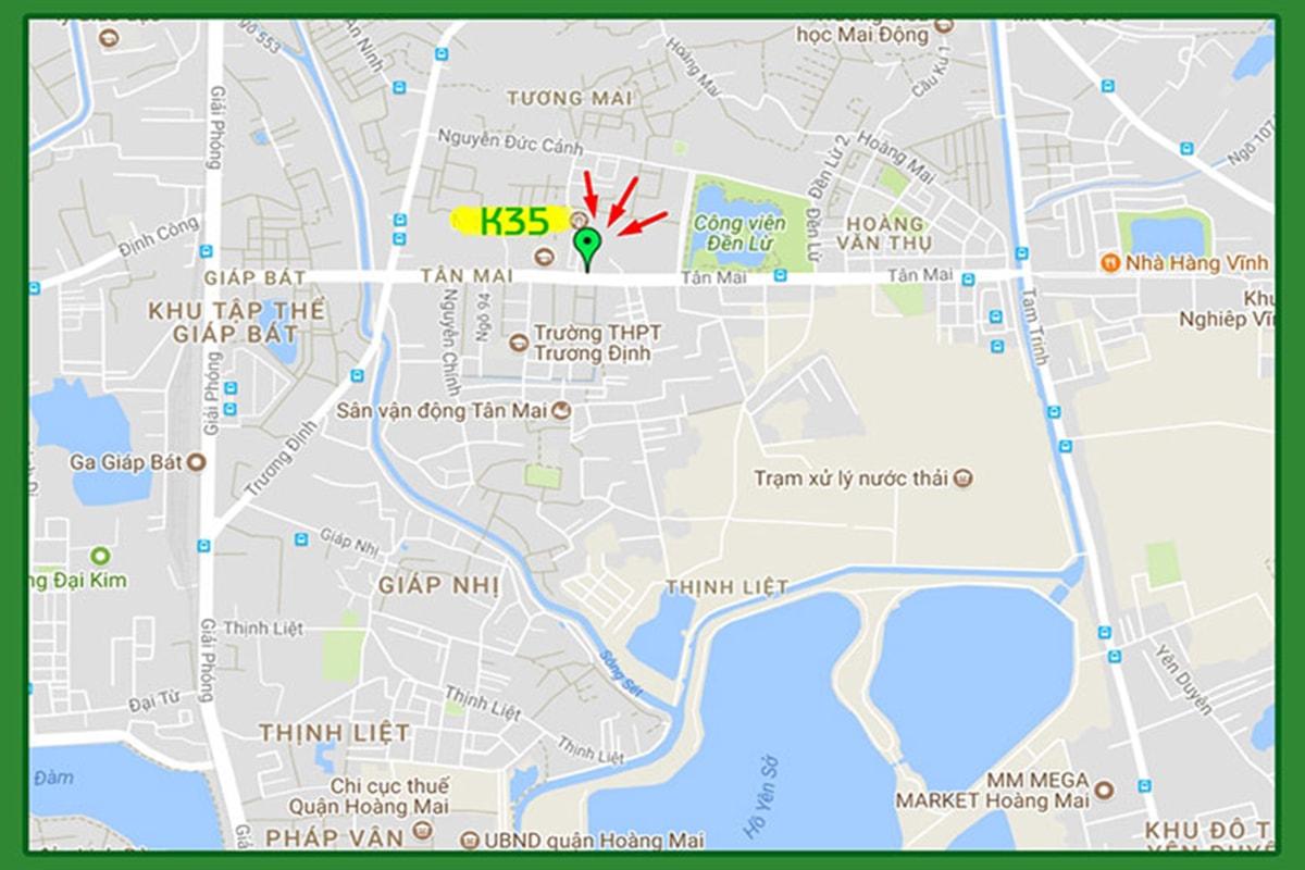Vị trí dự án K35 Bộ Quốc Phòng