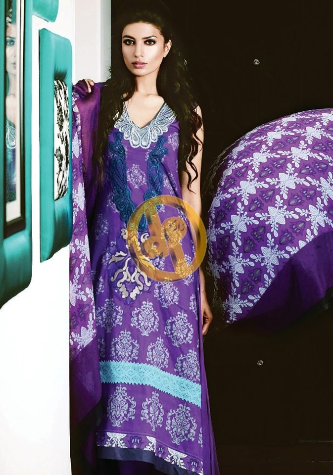 64fb490f9e Dawood Textile's Fall Frock Collection. Semi Embroidered Purple and Yellow  Dresses with Contrast Designing. Kuki Concepts Evening Wear Lawn Suits