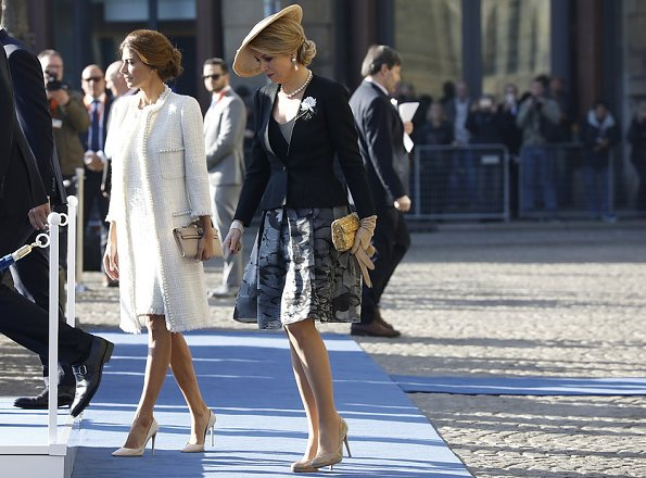 Queen Maxima and Juliana Awada. Queen Maxima wore Matthijs van Bergen Coppens Lelies Jacket and Skirt and L.K. Bennett shoes