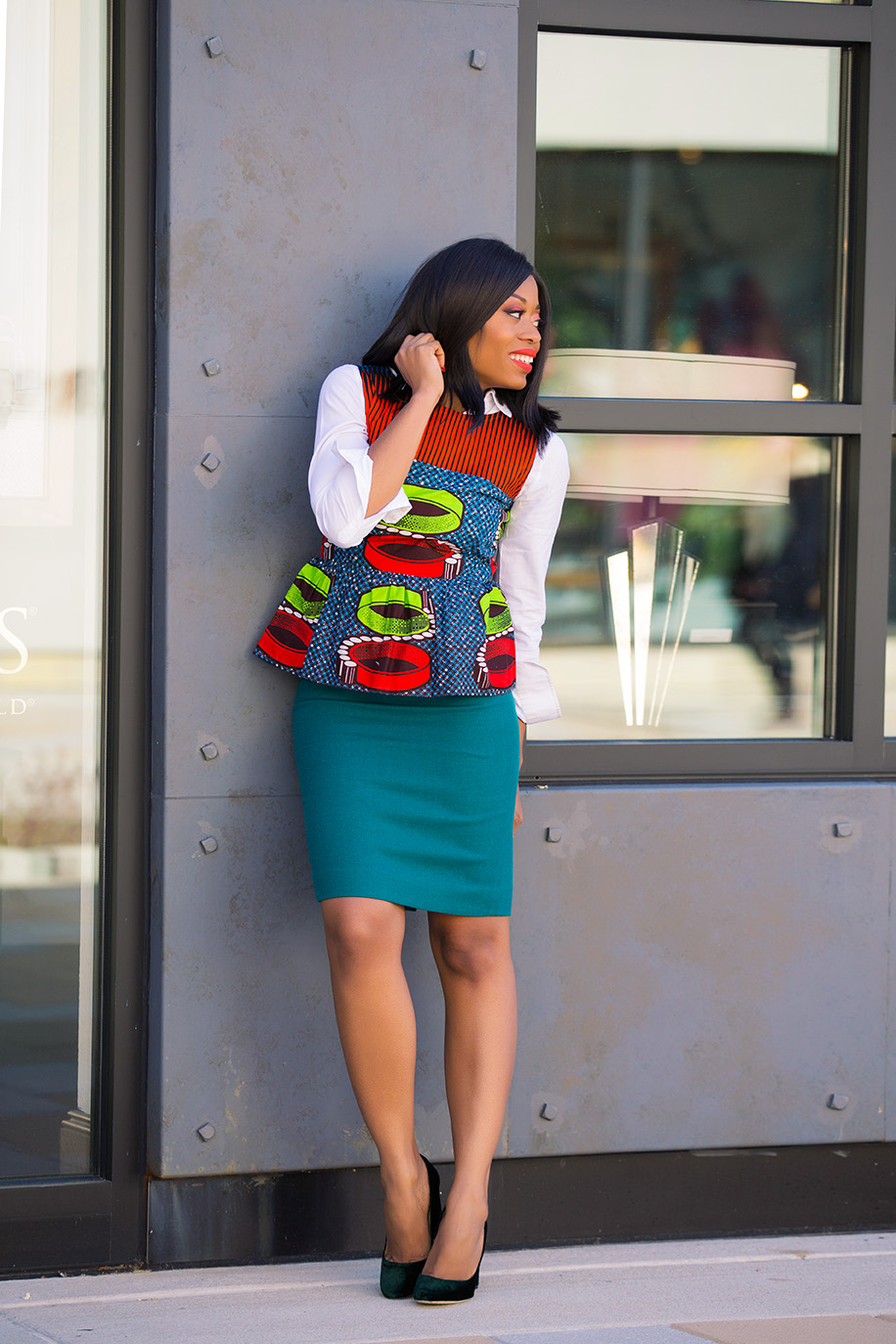 Pencil skirt and ankara peplum top, www.jadore-fashion.com