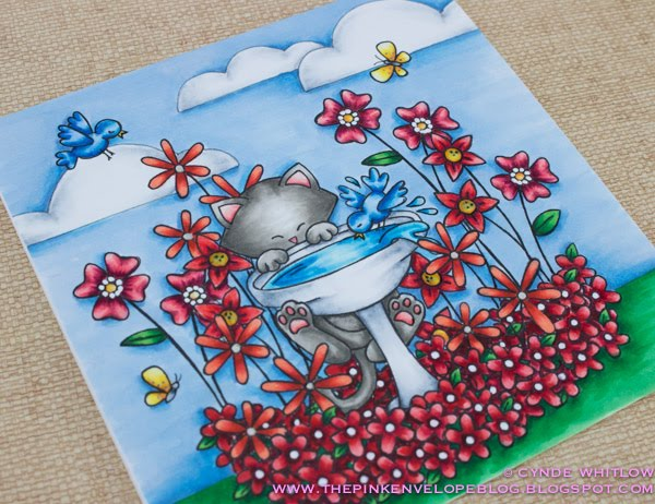 Newton's Birdbath Card with July Guest Designer Cynde Whitlow | Newton's Birdbath stamp set by Newton's Nook Designs #newtonsnook #handmade