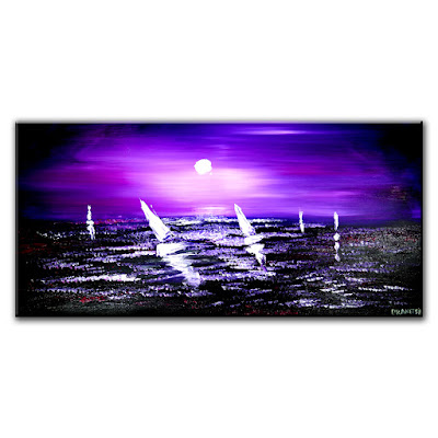 Through the Darkness of Night, seascape abstract painting, Dranitsin