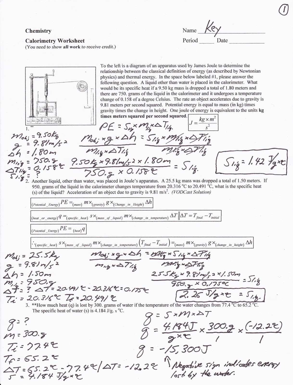 Worksheets Calorimetry Worksheet mr brueckner 2017 2018 chemistry blog october use the link above to watch a video summarizing james joules experiment for part of on joule start at about 3 minutes 10 seconds