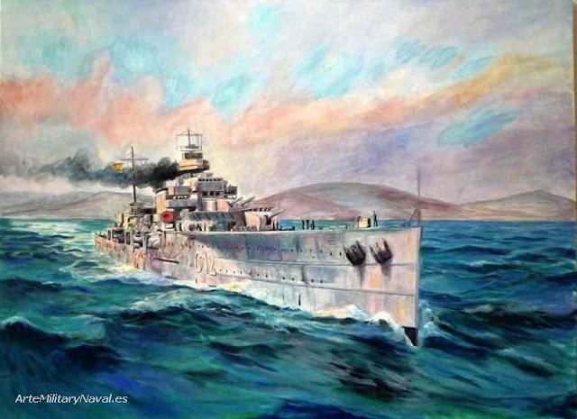 Oleo del crucero Armirante Cervera paso 4