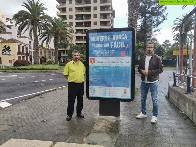 El Ayuntamiento de Santa Cruz de La Palma instala paneles informativos en las paradas de taxis con las tarifas a los destinos más demandados