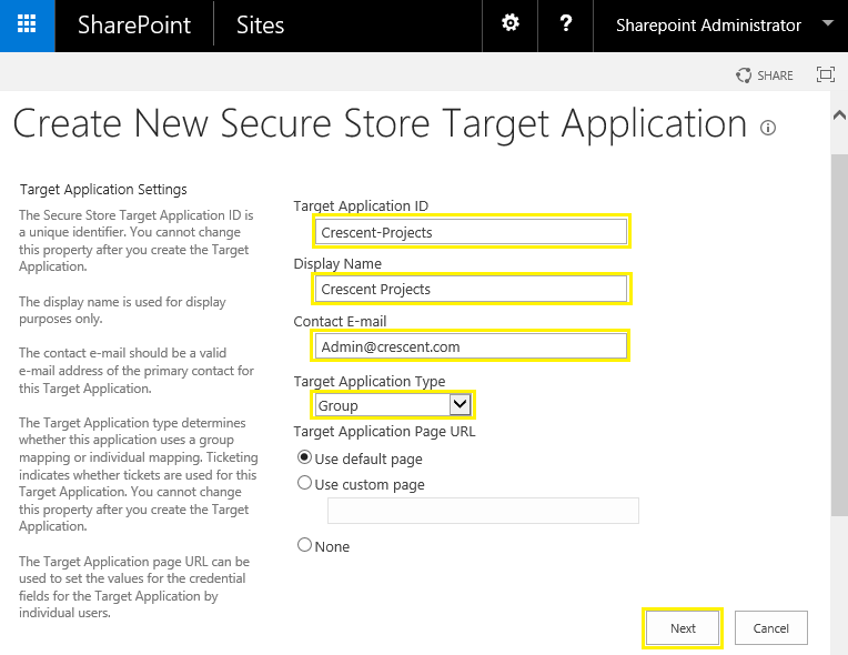 sharepoint secure store application id