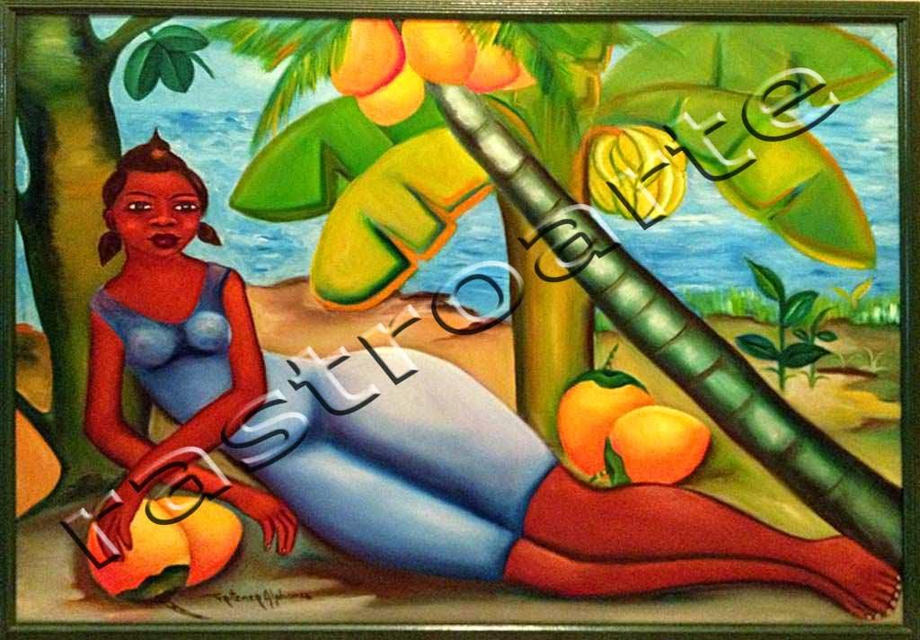 Acrílico sobre lienzo representando una mujer haitiana en la playa junto al mar bajo unos cocoteros. Fritzner Alphonse