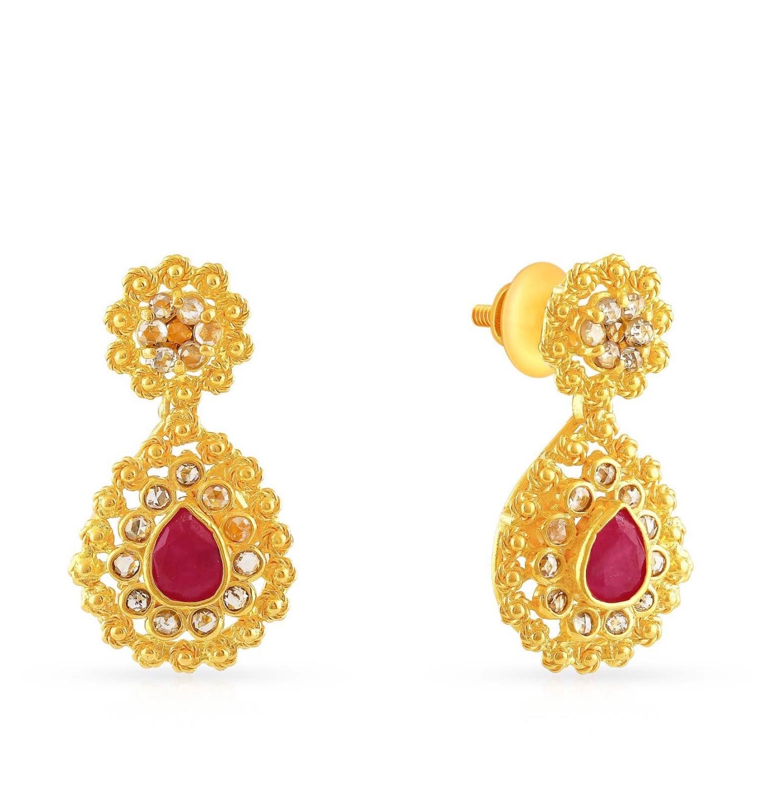 6b609b1b8 Malabar Gold and Diamonds 22KT Yellow Gold Drop Earrings for Women