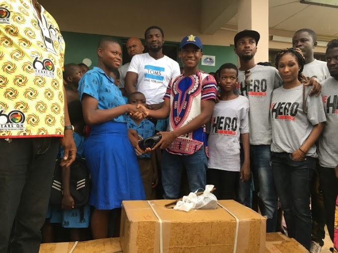 Abraham Attah and Hero film crew donate shoes to school children in Tamale