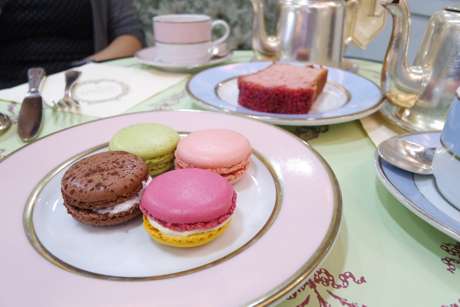 Laduree Tea Room Times Square Hong Kong Macarons Rose Tea Cake