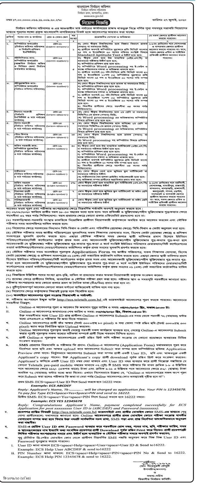 বাংলাদেশ নির্বাচন কমিশন নিয়োগ ২০২০ - Bangladesh Election Commission Circular 2020
