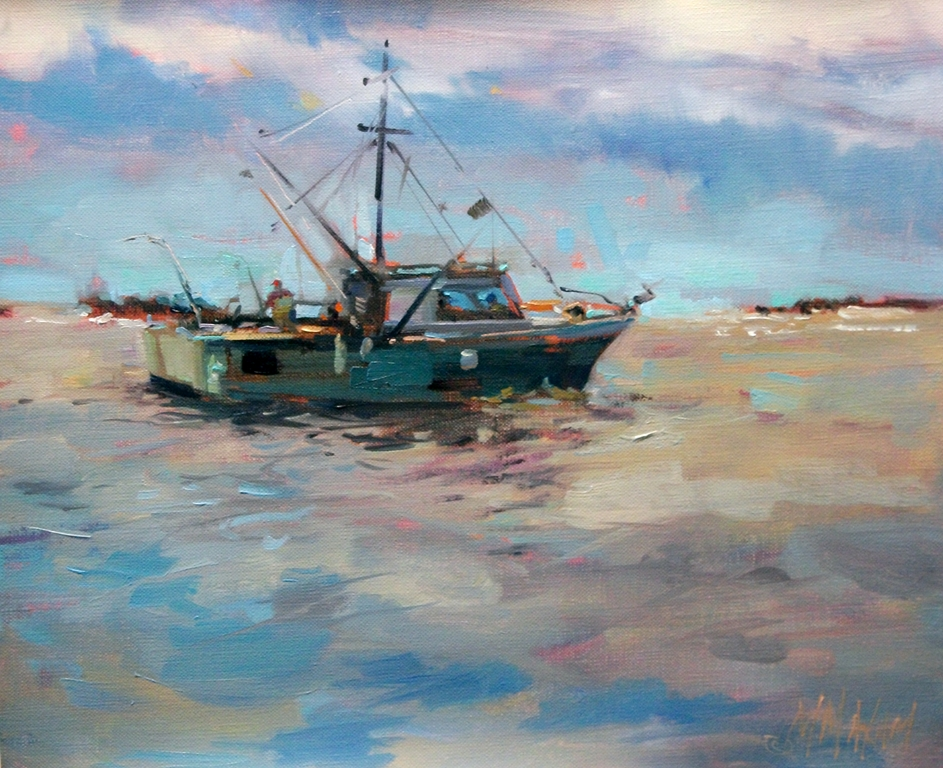 Mary maxam paintings tofino fishing boat for Fishing boat painting