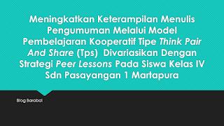 Think Pair and Share kombinasi Strategi Peer Lessons