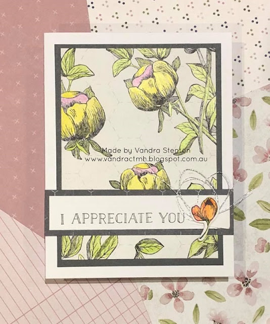 #CTMHVandra, #ctmhfeelslikehome, #ctmhLoveatFirstSight, Vandras online card club, Easter, floral, thank you, flowers, appreciation, cardmaking, stamping, Silver, Colour Dare Challenge, color dare, Colouring,