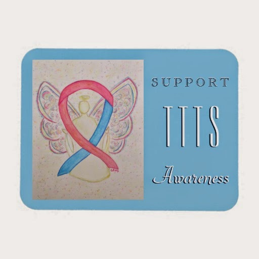 Support Twin to Twin Transfusion Syndrome Pink and Blue TTTS Awareness Ribbon Angel Art Custom Gift Magnets