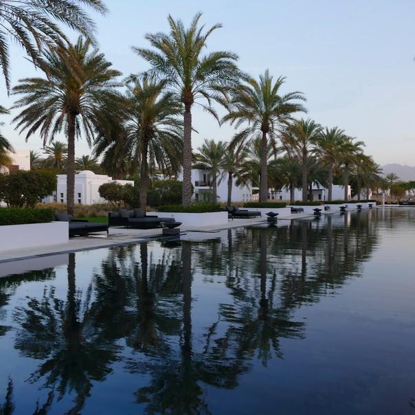 Long Pool, Hotel, The Chedi, Oman, Muscat, Maskat, Palmen, Spiegelung