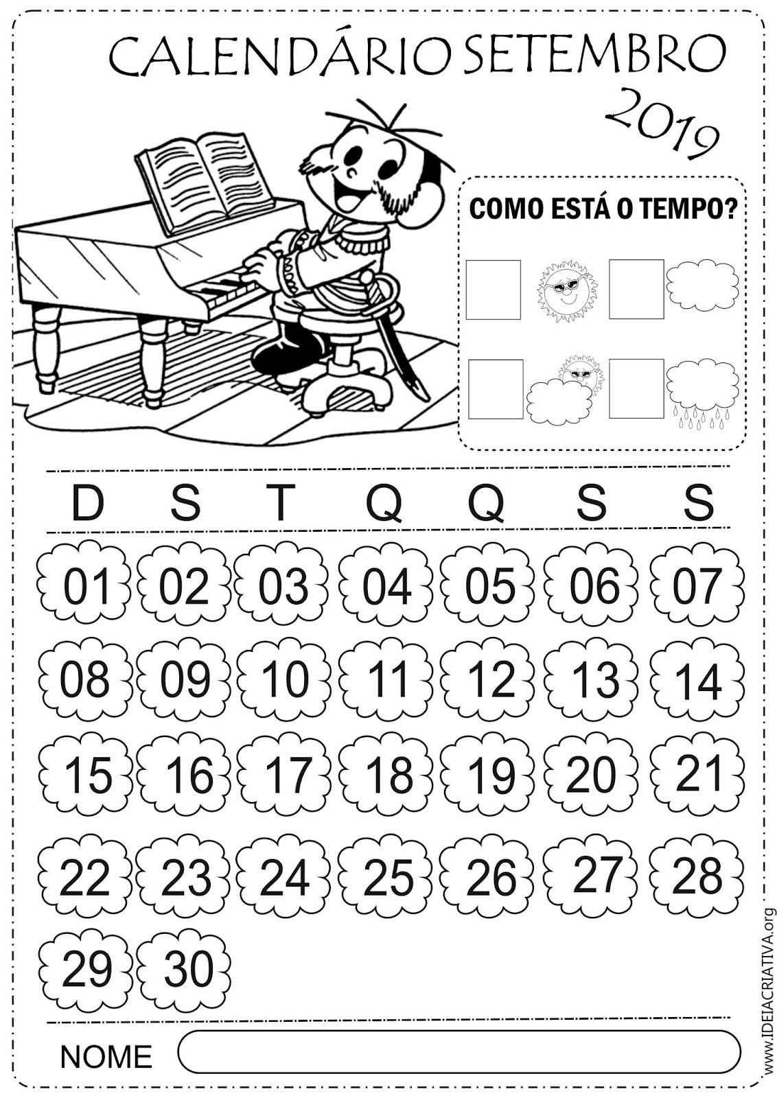 Calendário Setembro 2019 Turma da Mônica para imprimir e