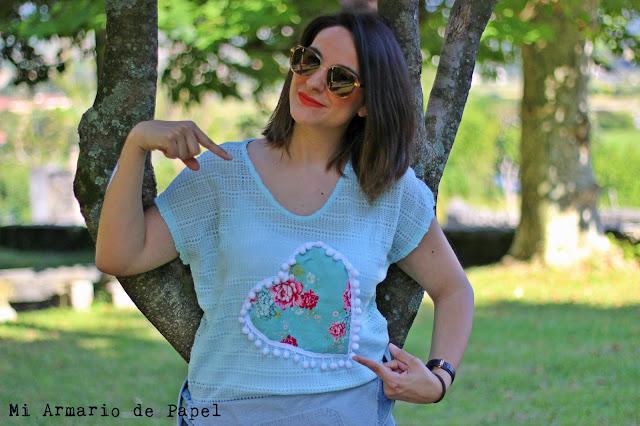 Camiseta I Love Melita Corazón Flores