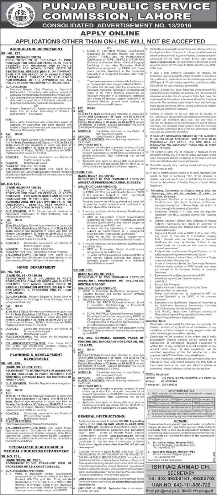 PPSC Jobs 2016 in Lahore Punjab Pakistan | PPSC Jobs .