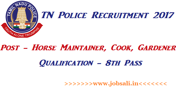cook jobs in chennai, Horse Maintainer Recruitment 2017, Latest TN Govt Jobs