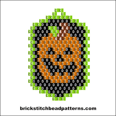 Click for a larger image of the Pumpkin Dog Tag Halloween bead pattern labeled color chart.