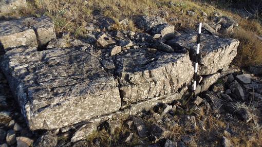Uno de los escalones de la supuesta pirámide