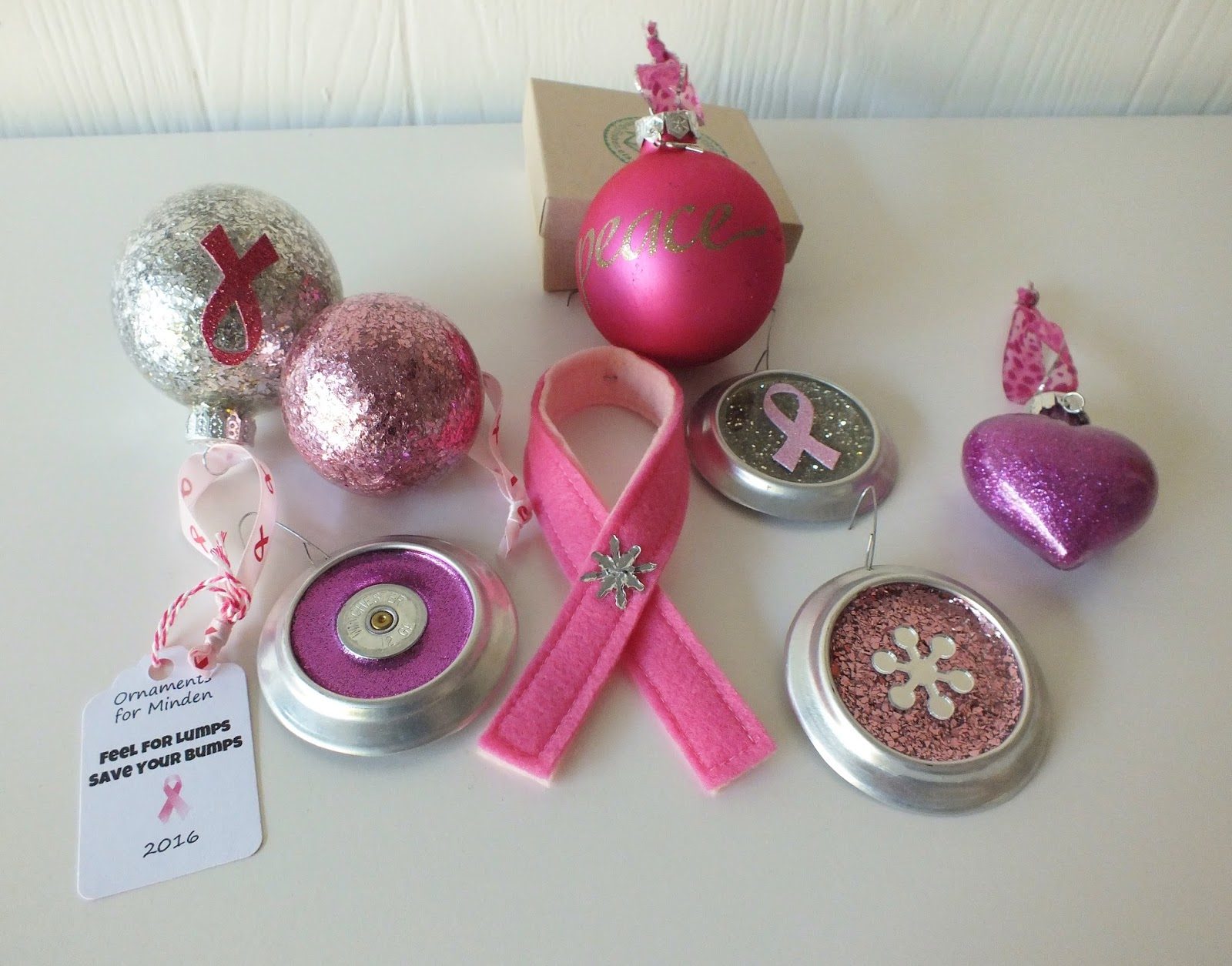 Breast cancer ornament - Glittered Heart Breast Cancer Ornament