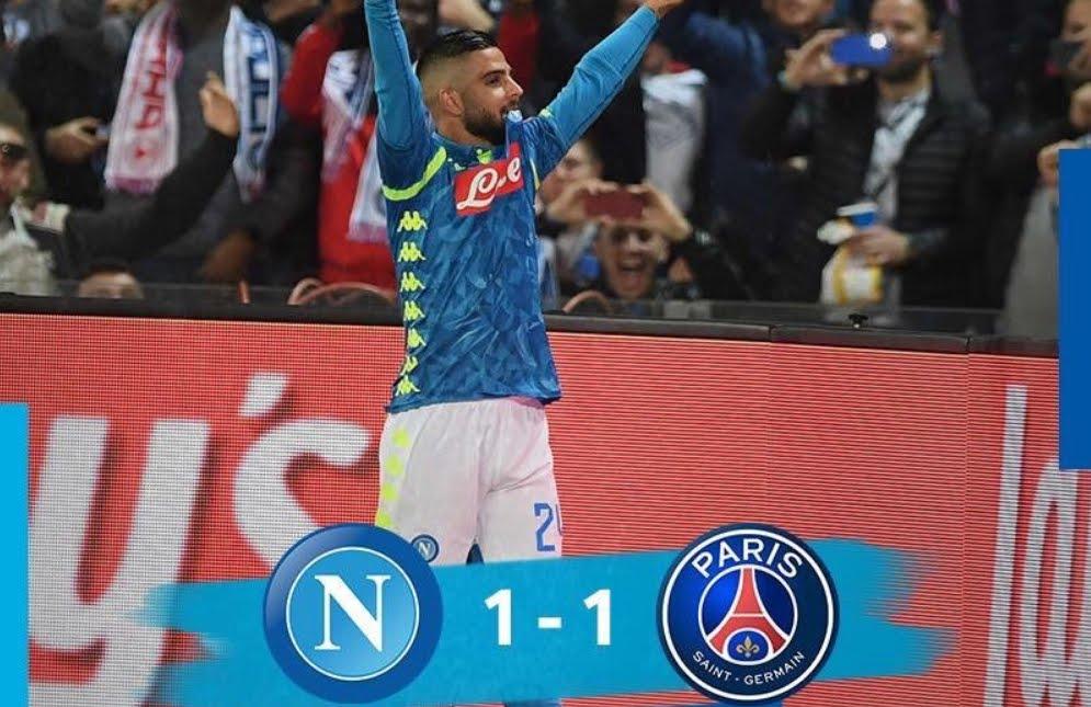 Napoli-PSG risultato 1-1: Lorenzo Insigne (62') su rigore rimonta il gol di Juan Bernat (45'+2').