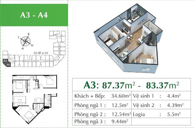 Thiết kế căn A3 - giống A4 Eco City Long Biên