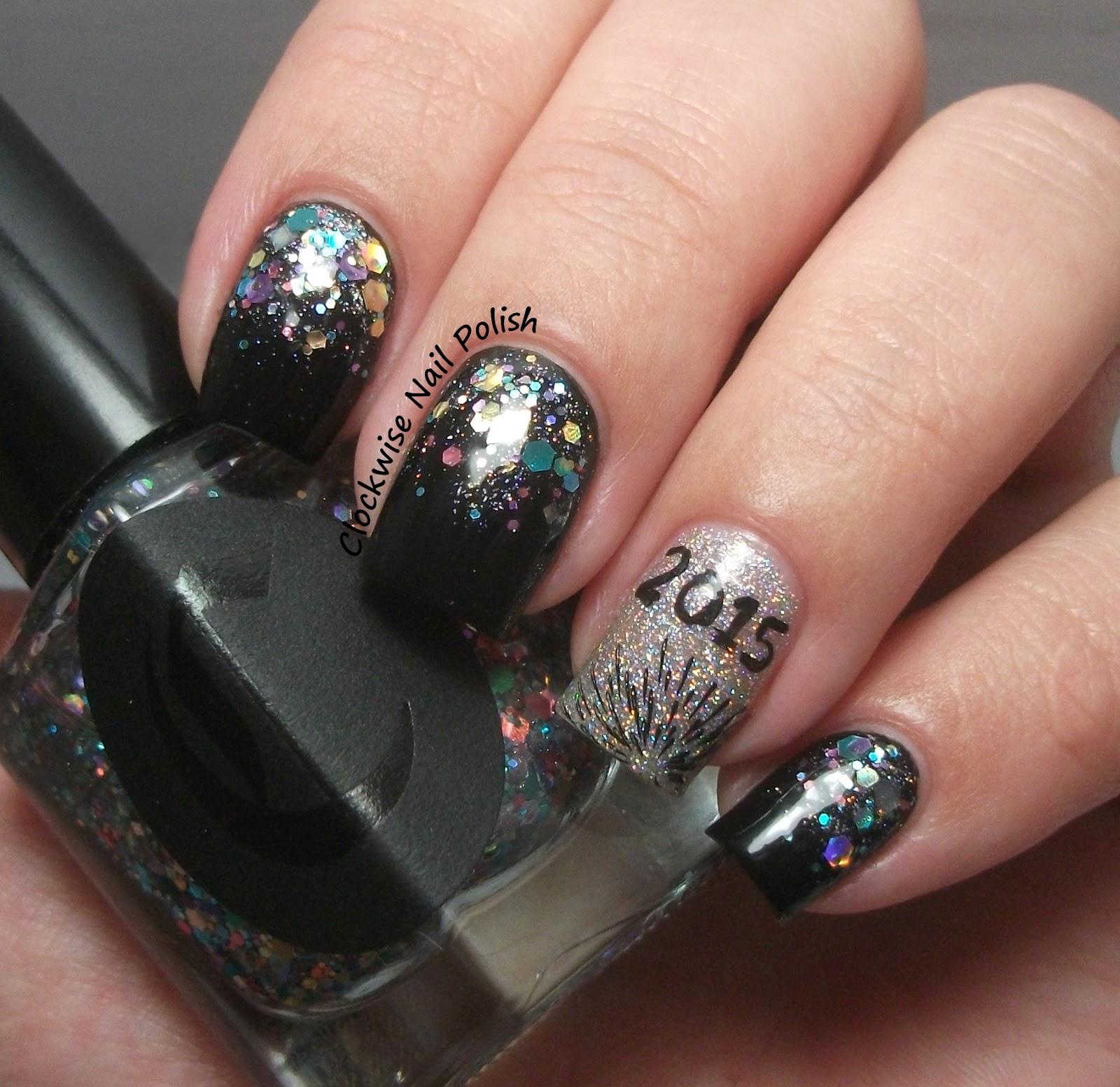 The Clockwise Nail Polish: New Year's Eve 2014 Nail Art