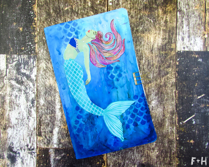 DIY Mermaid Moleskine Notebook Cover