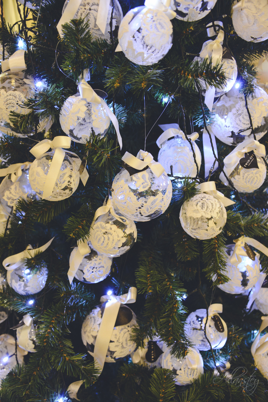 Christmas tree lights and decorations