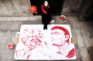 Retrato de Yao Ming por Red Hong Yi