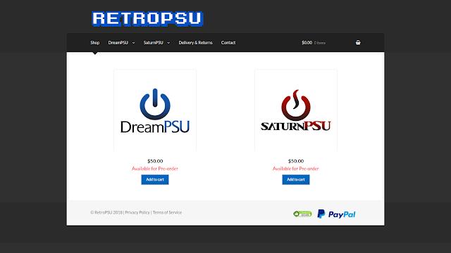 Loja online RetroPSU para pre-venda da DreamPSU e SaturnPSU