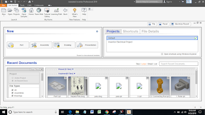 User Interface Autodesk Inventor Professional 2019