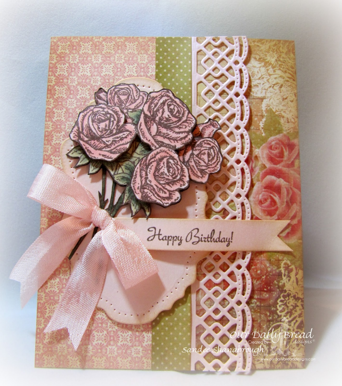 Stamps - Our Daily Bread Designs Rose Bouquet, ODBD Custom Vintage Label Dies, ODBD Custom Beautiful Borders Dies, ODBD Blushing Rose Paper Collection