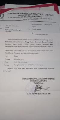 Surat RDP Kepada Pansel Sekdaprov Lampung Diduga Palsu