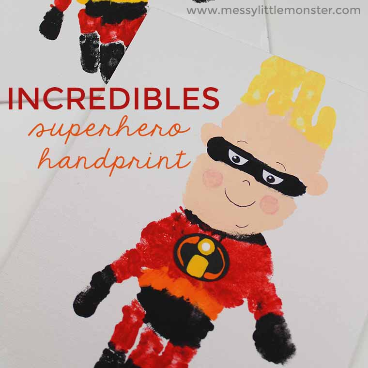 Superhero handprint Craft for kids. A fun 'The Incredibles 2' movie superhero activity for toddlers and preschoolers