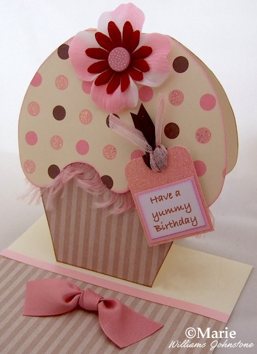 Pink and coffee brown polka dot cupcake shaped card handmade DIY design birthday greeting cakes