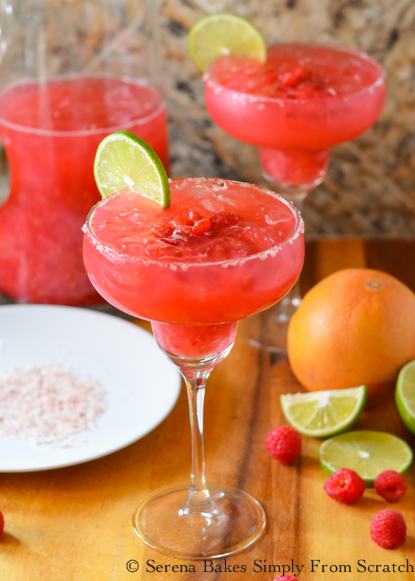 Raspberry Margaritas are a favorite pitcher cocktail recipe is perfect for parties from Serena Bakes Simply From Scratch. An all time favorite margarita!