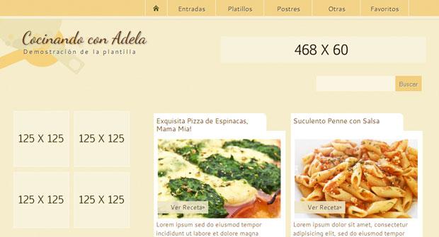 FREE Cocinando con Adela Blogger Template