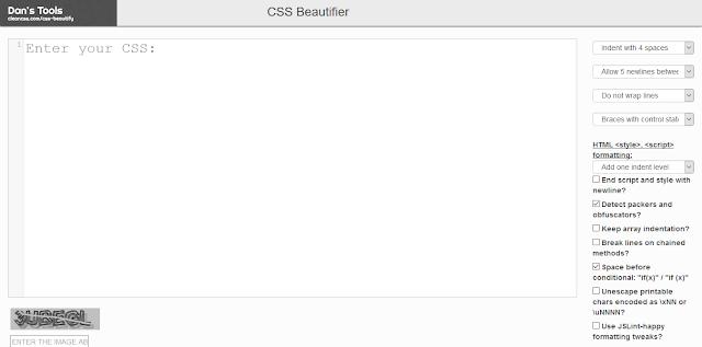 Situs - Situs Untuk Merapihkan Kode CSS - CleanCSS