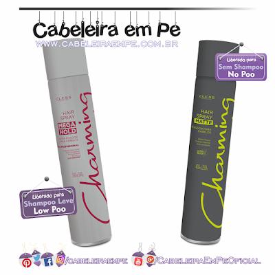 Composição Hair Spray Mega Hold (liberado para Low Poo) e Efeito Mate Charming (Liberado para No Poo) - Cless