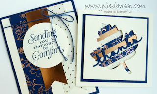 Stampin' Up! Petals & Paisleys Autumn Thanksgiving Thank You cards #stampinup www.juliedavison.com