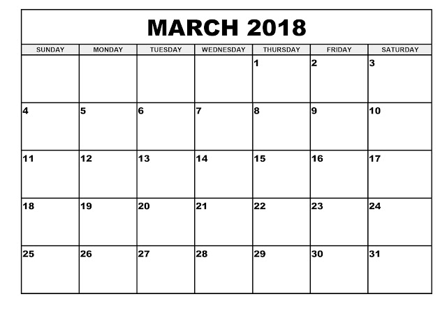 March 2018 Printable Calendar, March 2018 Blank Calendar, Calendar March 2018, March 2018 Calendar, 2018 March Calendar Template, Free March 2018 Calendar