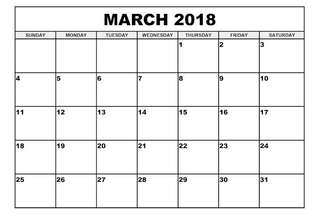 March 2018 Printable Calendar, March 2018 Blank Calendar, Calendar March 2018, March 2018 Calendar, 2018 March Calendar Template, Free March 2018 Calendar