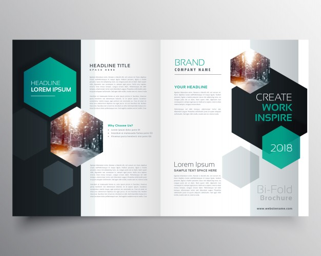Brochure template with hexagonal shapes Free Vector